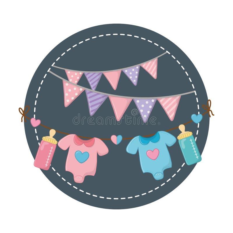 Quadro redondo com roupa do beb? ilustração do vetor