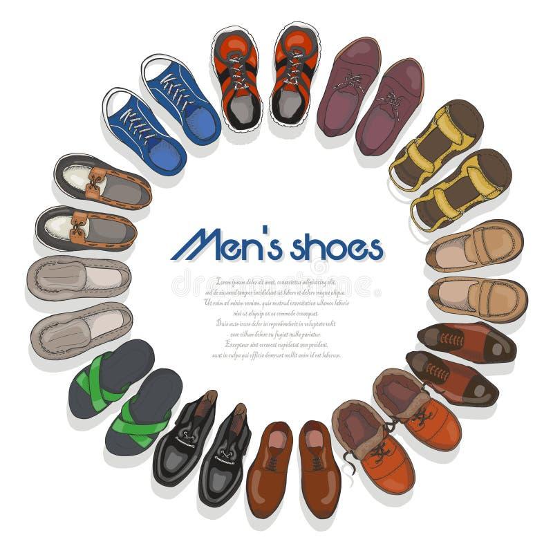 Quadro redondo com sapatas dos homens ilustração do vetor