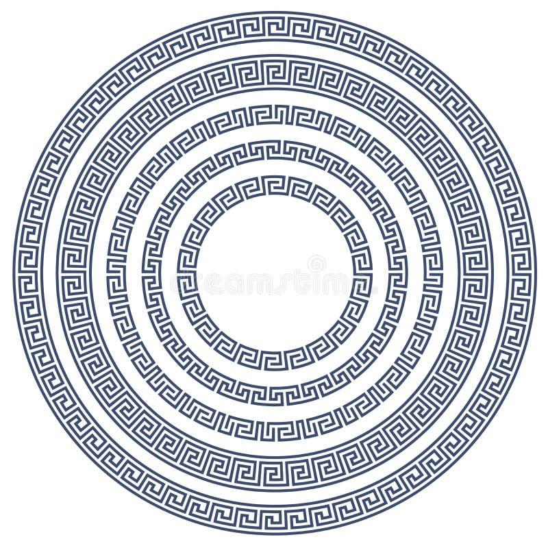 Quadro redondo com teste padrão grego ilustração do vetor