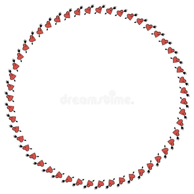 Quadro redondo com um cora??o perfurado por uma seta, significando o amor ilustração royalty free