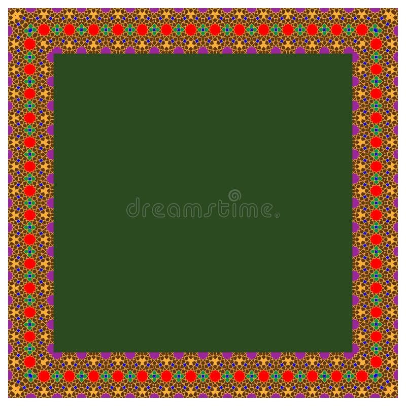 Quadro redondo da beira do retângulo do ornamento colorido islâmico oriental Linhas dando laços com estrelas Ilustração do vetor ilustração royalty free