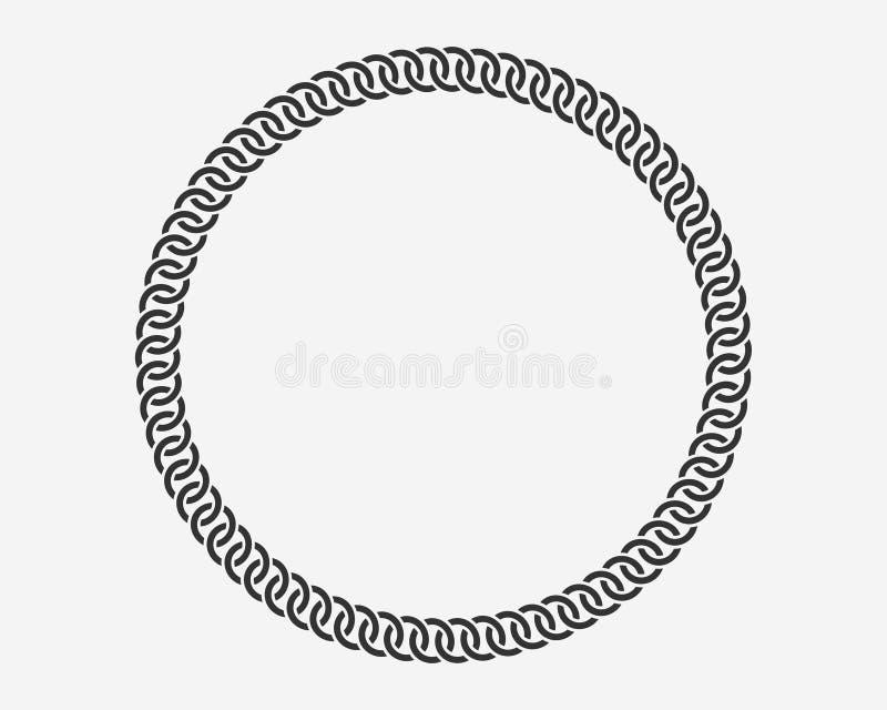 Quadro redondo da corrente da textura As correntes da beira do círculo mostram em silhueta preto e branco isoladas no fundo Eleme ilustração royalty free