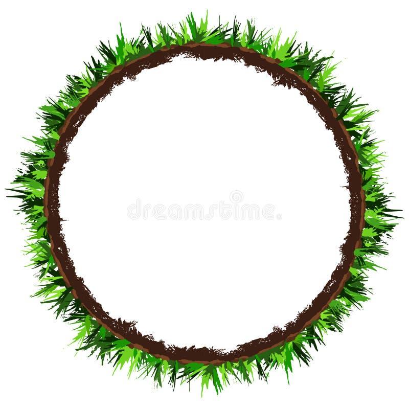 Quadro redondo da grama verde Bandeira do círculo com espaço da cópia Vetor do desenho da mão ilustração stock