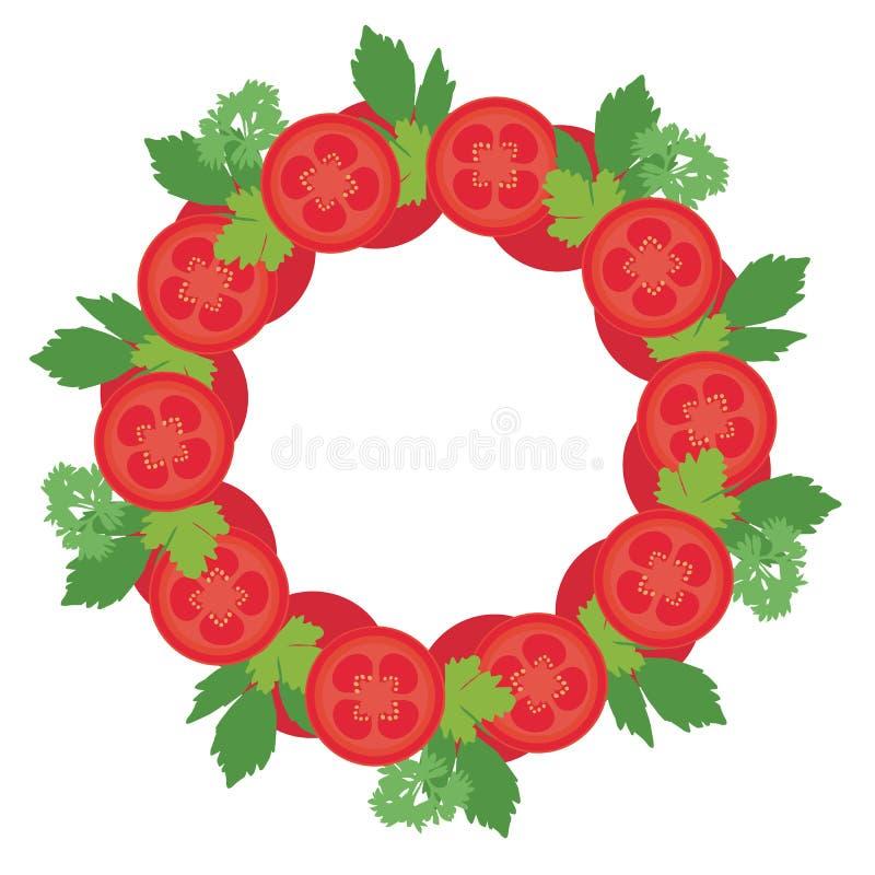 Quadro redondo da ilustração lisa do projeto com fatias de tomate e de b ilustração royalty free