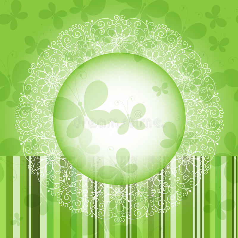Quadro floral redondo da mola verde ilustração do vetor