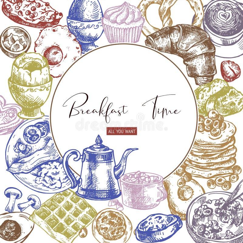 Quadro redondo da refeição do vintage do vetor, objetos do café da manhã, opinião superior do alimento ilustração do vetor