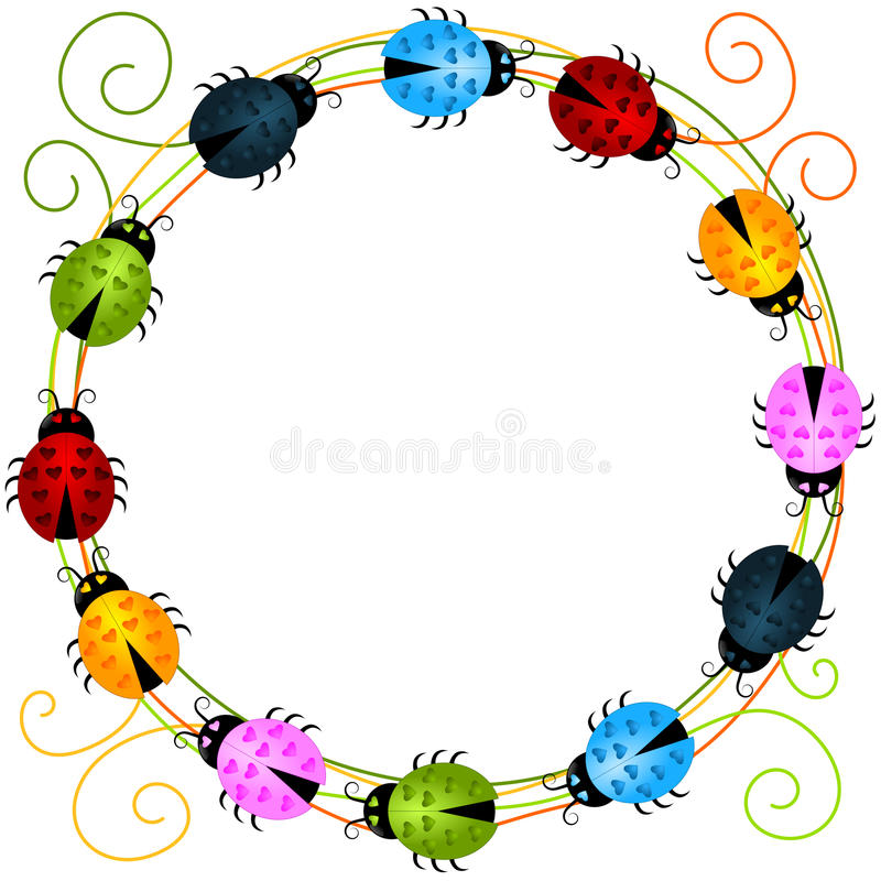 Quadro redondo das joaninha coloridas ilustração do vetor