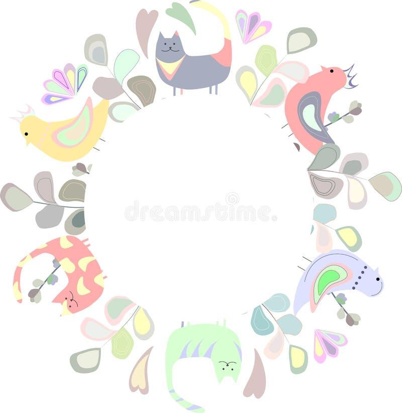 Quadro redondo de flores e de gatos coloridos, pássaros ilustração do vetor