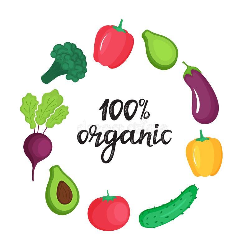 Quadro redondo de legumes frescos 100 por cento m?o org?nica de rotula??o tirada ilustração do vetor