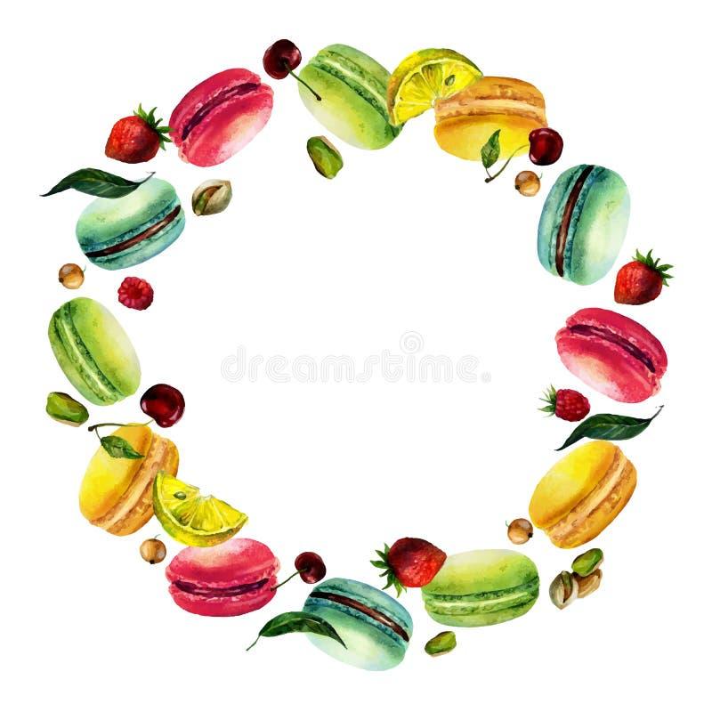 Quadro redondo de Macaron da aquarela ilustração stock