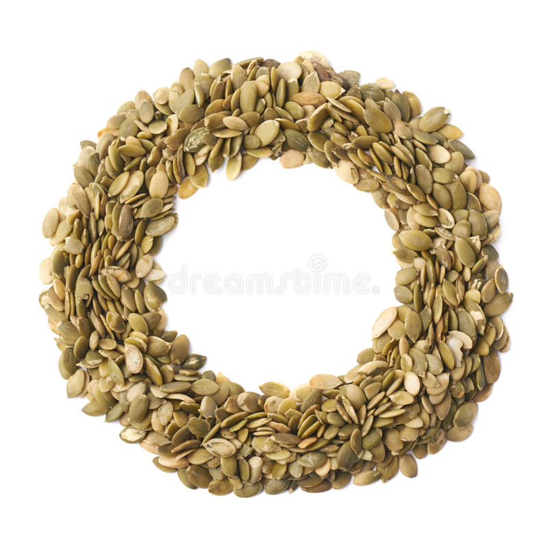 Quadro redondo de sementes de abóbora fotos de stock royalty free