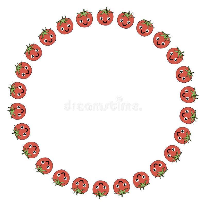 Quadro redondo de tomates positivos ilustração royalty free