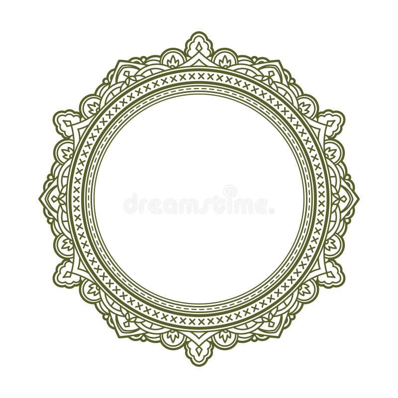 Quadro redondo decorativo do estilo do vintage Ilustração do vetor ilustração do vetor