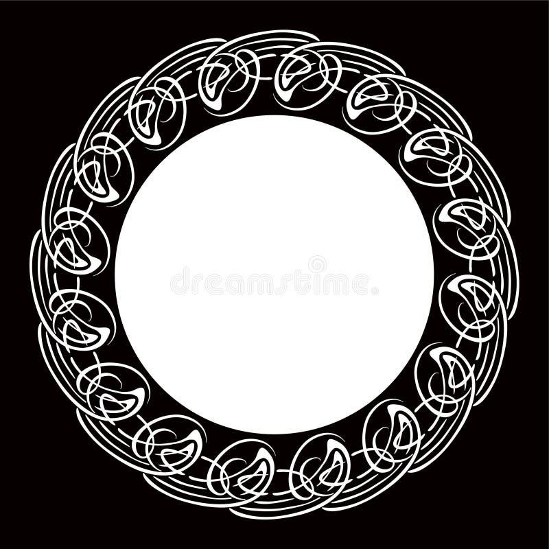 Quadro redondo decorativo preto e branco ilustração stock