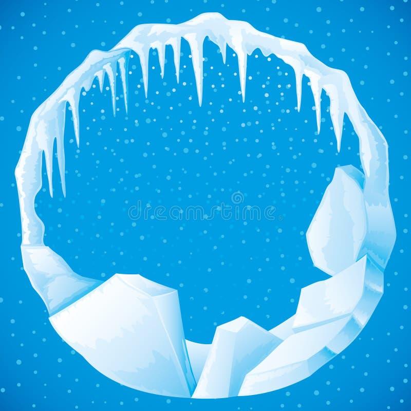 Quadro redondo do gelo e dos sincelos ilustração do vetor