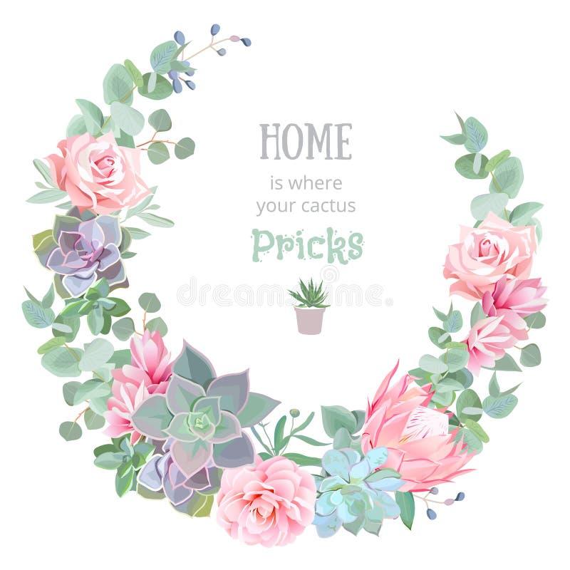 Quadro redondo do projeto floral à moda do vetor Rosa, camélia, flores cor-de-rosa, echeveria, protea, eucaliptus sae ilustração stock
