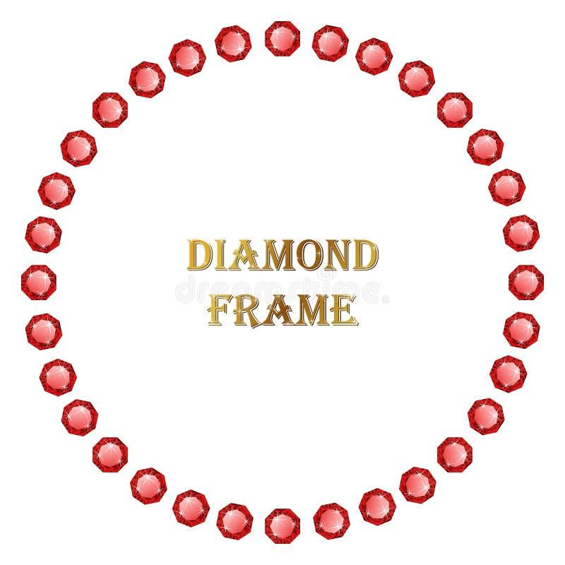 Quadro redondo do rubi ilustração royalty free