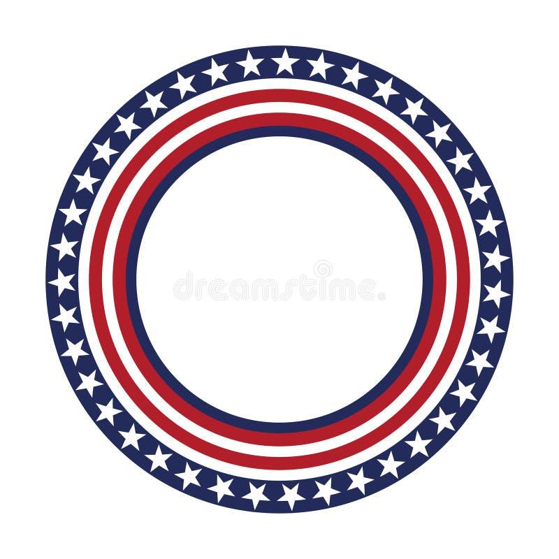 Quadro redondo do teste padrão do vetor da estrela dos EUA Beira patriótica americana do círculo com teste padrão de bandeira dos ilustração stock
