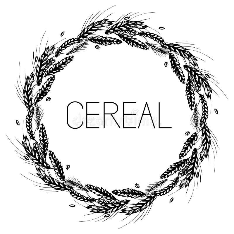 Quadro redondo do trigo, do centeio, da cevada e do malte ilustração stock