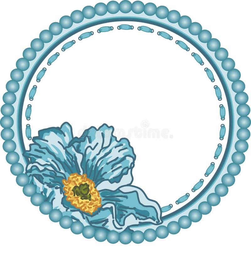 Quadro redondo do vintage com flor azul ilustração stock