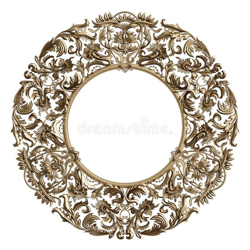 Quadro redondo dourado clássico com a decoração do ornamento isolada no branco ilustração stock