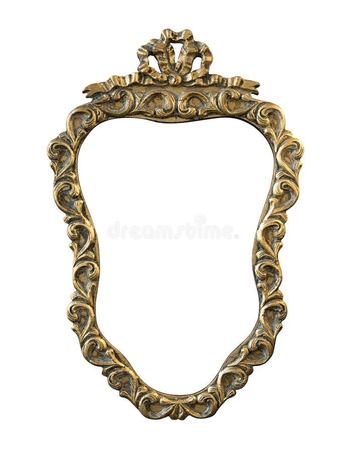 Quadro redondo dourado vintage com um ornamento isolado no branco fotografia de stock