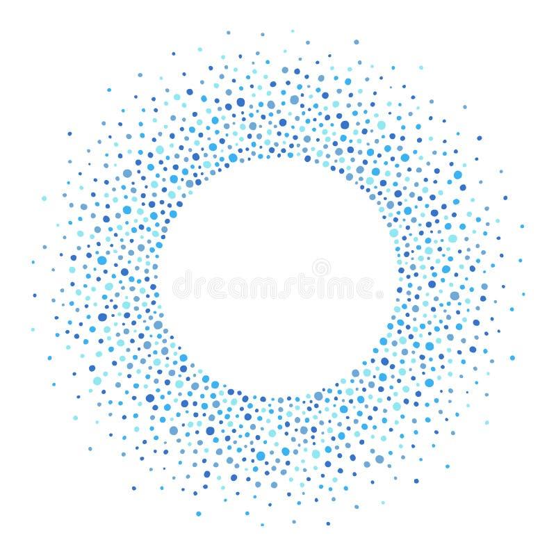 Quadro redondo feito dos pontos ou dos pontos, máscaras do azul ilustração royalty free