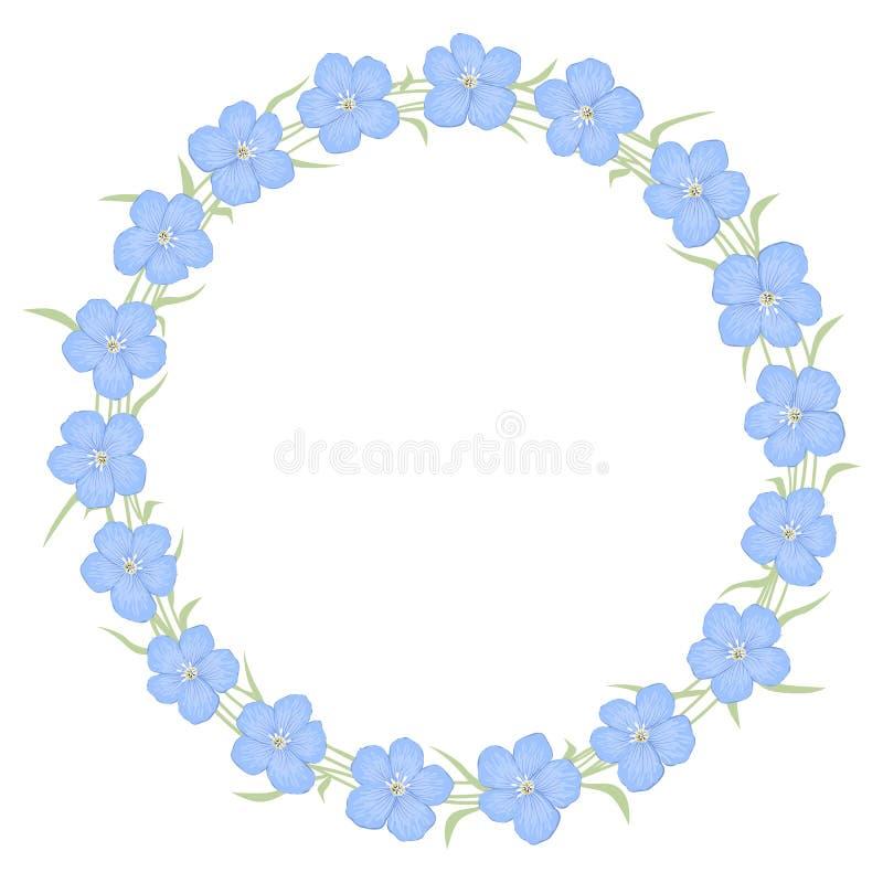 Quadro redondo floral das flores azuis do linho ilustração royalty free