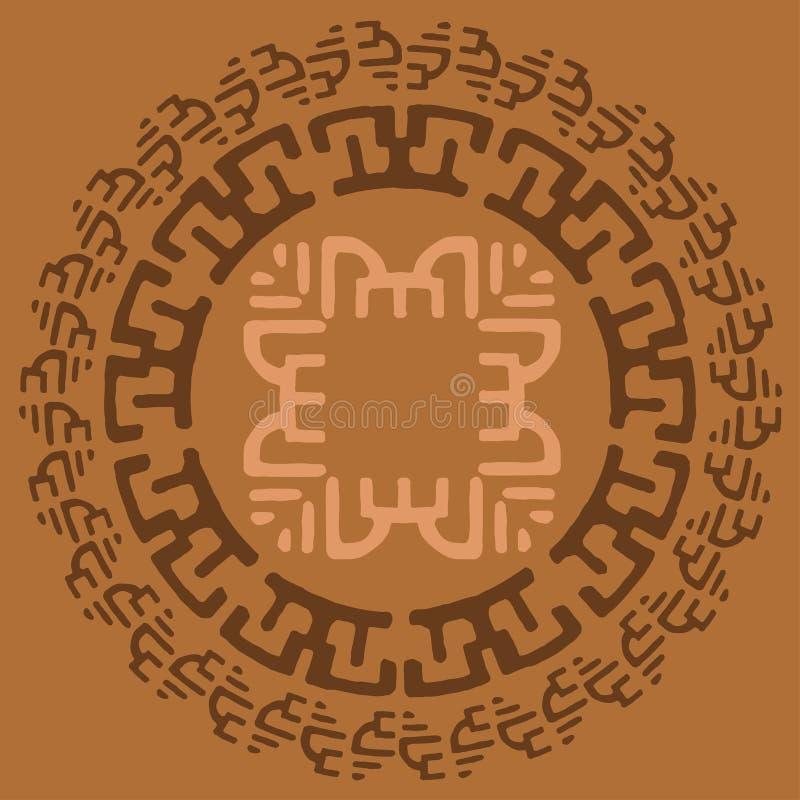 Quadro redondo largo decorativo com teste padrão étnico Elementos isolados decorativos tribais, beira, etiqueta para o texto Ilus ilustração do vetor