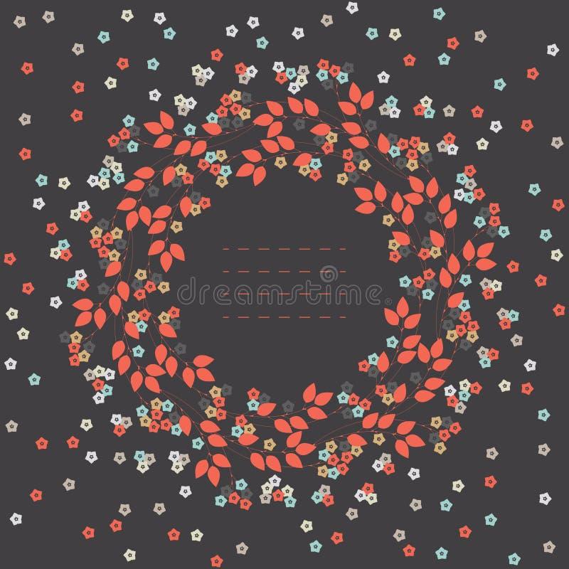 Quadro redondo outonal com flores bonitos ilustração do vetor