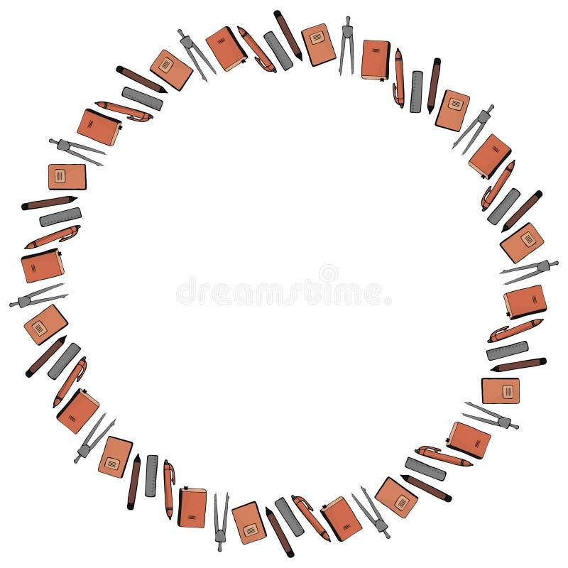 Quadro redondo para o 1º de setembro dos materiais de escritório Compassos, lápis, penas, réguas, cadernos e livros de texto em u ilustração stock