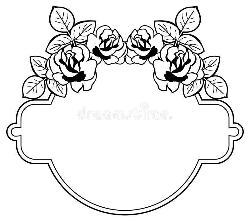 Quadro redondo preto e branco com as silhuetas estilizados das rosas Ras imagens de stock royalty free