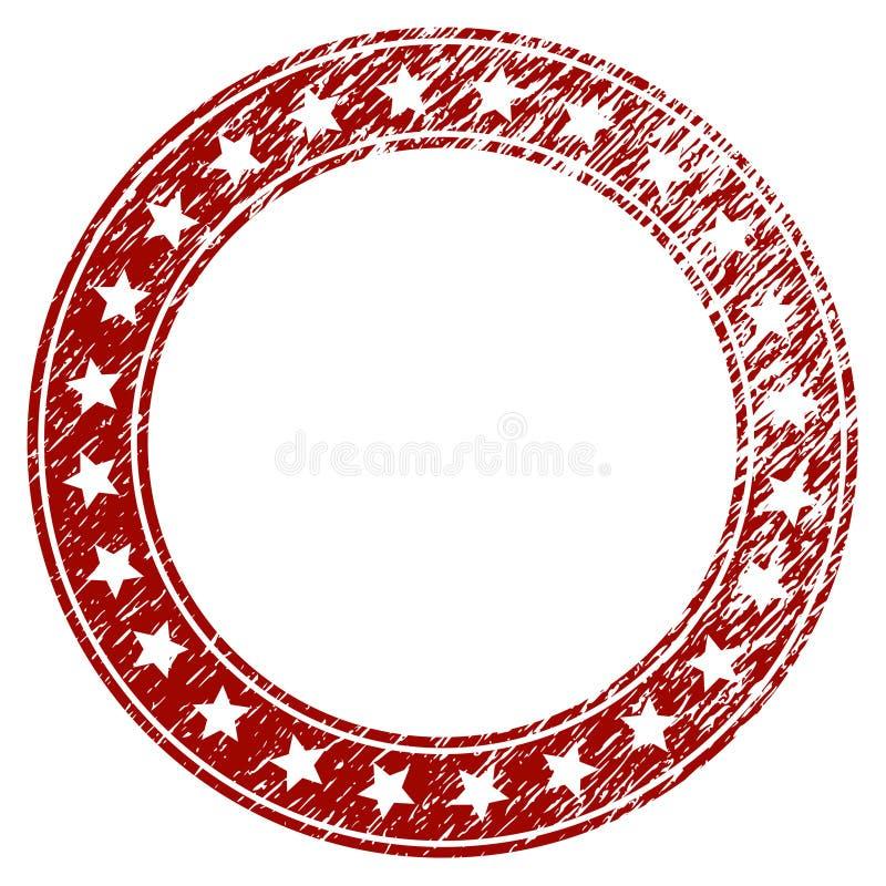 Quadro redondo Textured riscado das estrelas ilustração stock