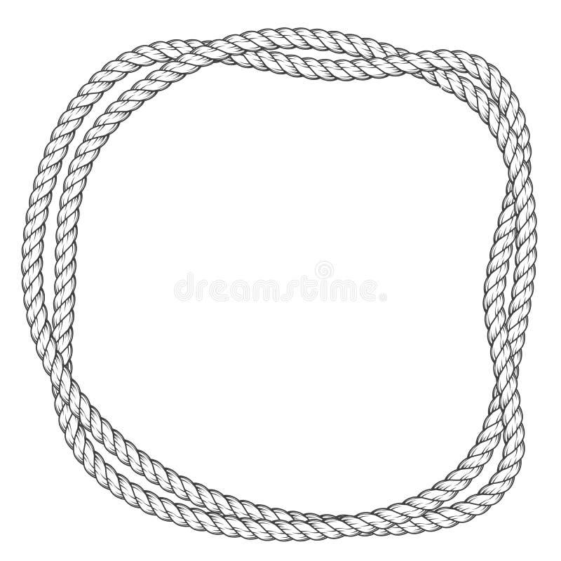 Quadro redondo torcido da corda - beira entrelaçada das cordas ilustração royalty free