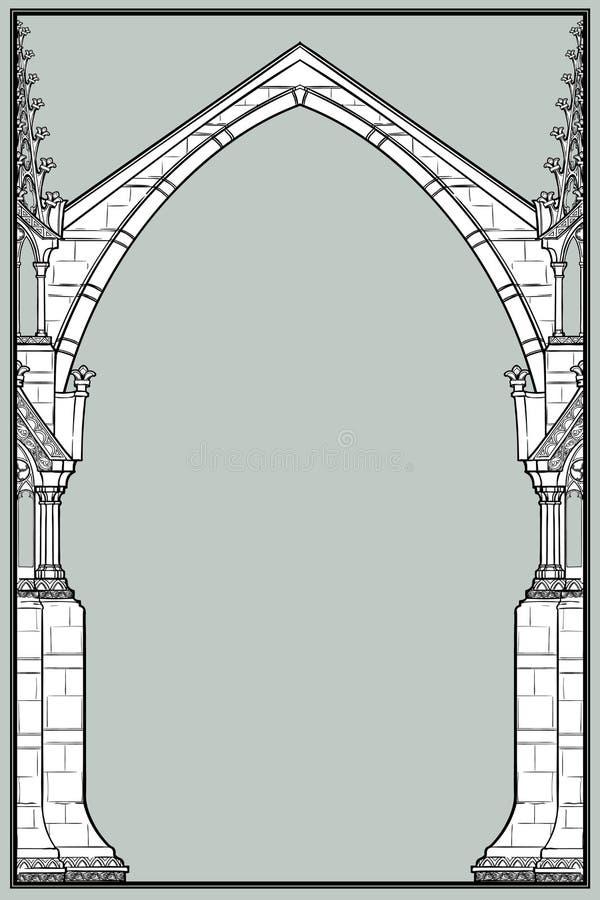 Quadro retangular do estilo medieval do manuscrito O estilo gótico apontou o arco formado com suportes de voo ilustração royalty free