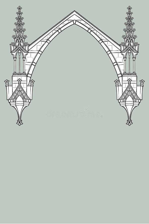Quadro retangular do estilo medieval do manuscrito O estilo gótico apontou o arco formado com suportes de voo ilustração do vetor