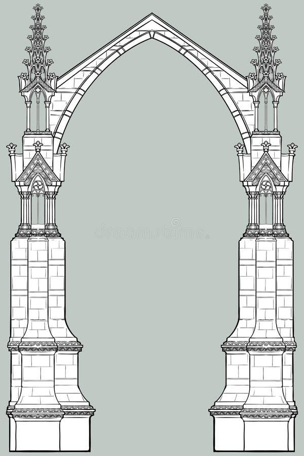 Quadro retangular do estilo medieval do manuscrito O estilo gótico apontou o arco formado com suportes de voo ilustração stock