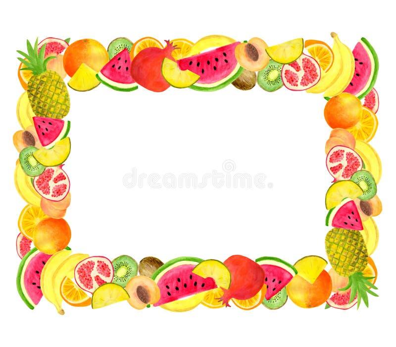 Quadro retangular do fruto tropical da aquarela no fundo branco Molde com espa?o para o texto Projeto do convite, menu, alimento ilustração stock