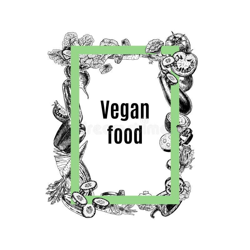 Quadro retangular do vetor dos vegetais ilustração do vetor