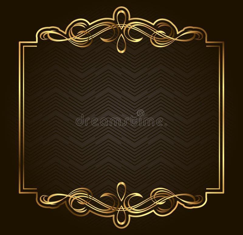 Quadro retro caligráfico do ouro do vetor no fundo escuro ilustração royalty free