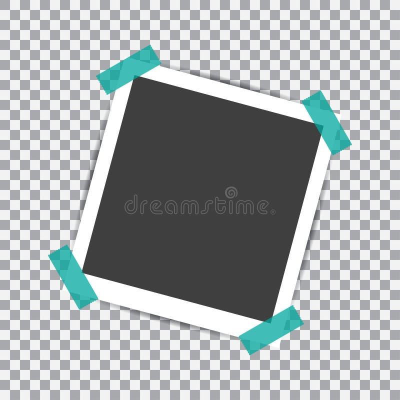 Quadro retro da foto com sombra no pino pegajoso da fita em um fundo transparente ilustração royalty free