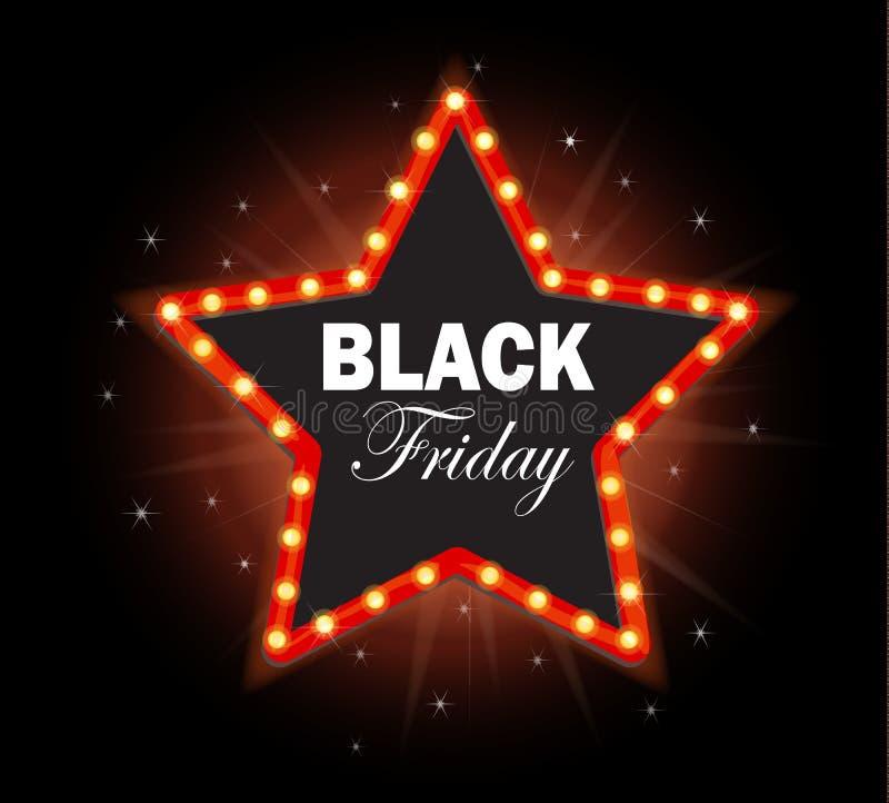 Quadro retro da luz da estrela de Black Friday ilustração stock
