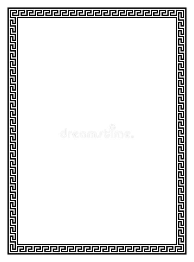 Quadro simples com teste padrão antigo para o quadro da foto ou beira da letra em um fundo branco isolado ilustração do vetor