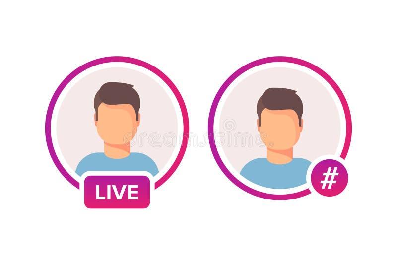 Quadro social do avatar do ícone dos meios Fluência viva ou de Hashtag das histórias do usuário do vídeo Quadro colorido do incli ilustração do vetor