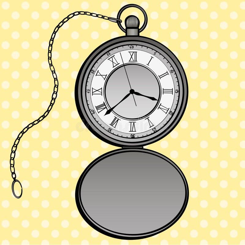 Quadro televisivo di progettazione di Pop art degli orologi da tasca Oggetti separati dell'orologio Elementi disegnati a mano di  illustrazione di stock