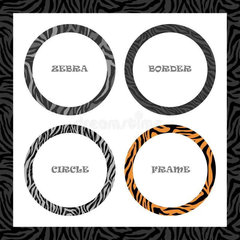 Quadro, teste padrão redondos da zebra, grupo do molde da beira do círculo, para o projeto da tampa ou da bandeira Vetor ilustração stock
