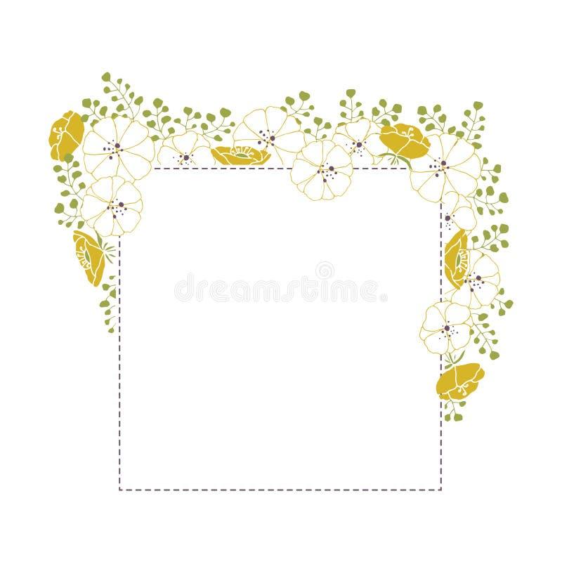 Quadro tirado do vetor mão floral Flores e folhas em um arranjo quadrado ilustração royalty free