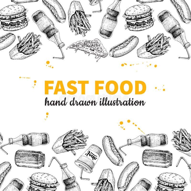 Quadro tirado mão do vetor do fast food Ilustração tirada mão do menu da comida lixo ilustração do vetor