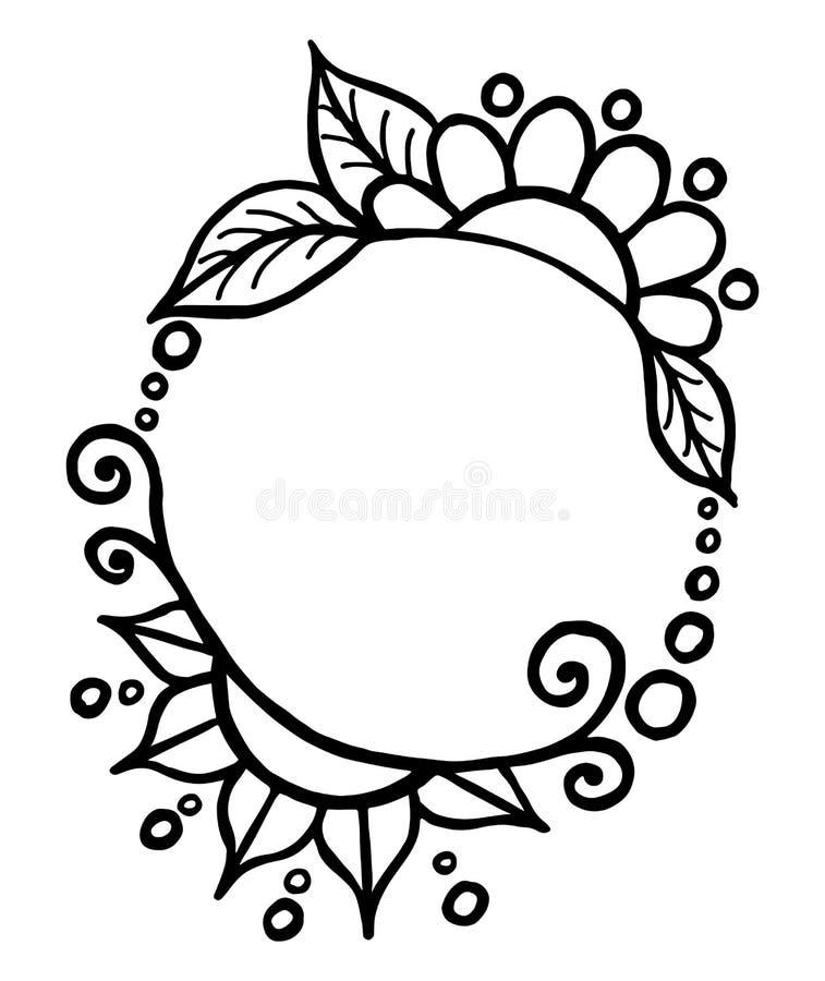 Quadro tirado preto preto simples redondo do vetor com flores e vira-lata fotografia de stock royalty free