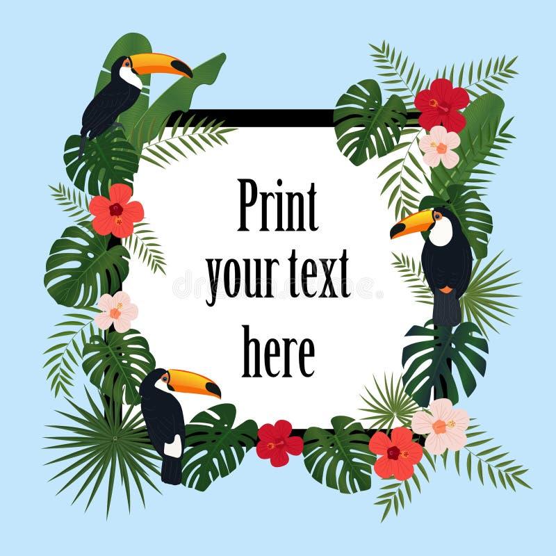 Quadro tropical colorido, flores brilhantes e pássaros do tucano Molde do vetor ilustração royalty free